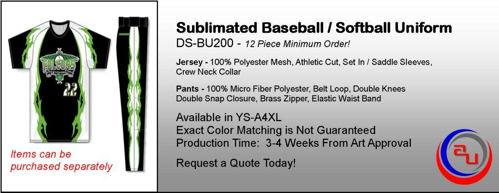 Dye Sublmimated Baseball Uniforms, Affordable Uniforms Online