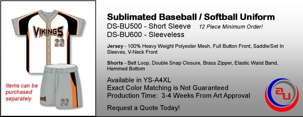 Dye Sublimated Adult Baseball Uniform, Affordable Uniforms Online