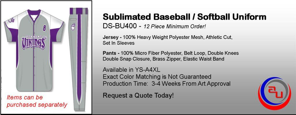 Dye Sublimated Full Button Baseball Uniform, Affordable Uniforms Online