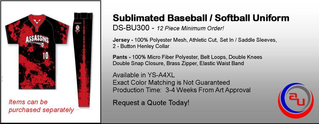 Sublimated 2-Button Henley Baseball Uniform, Affordable Uniforms Online