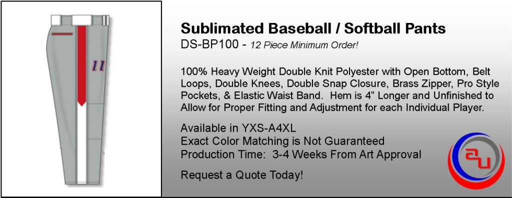 Sublimated Baseball Pants, Affordable Uniforms Online