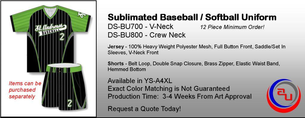 Sublimated Adult Baseball Uniform Sets With Shorts, Affordable Uniforms Online