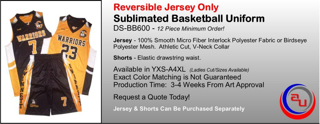 SUBLIMATED REVERSIBLE BASKETBALL UNIFORM