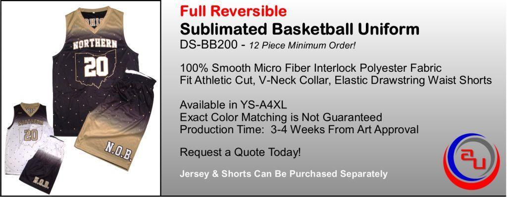 REVERSIBLE SUBLIMATED BASKETBALL UNIFORM