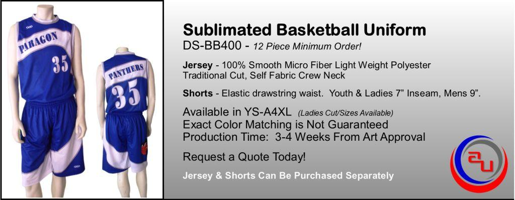 SUBLIMATED CREW NECK BASKETBALL UNIFORM