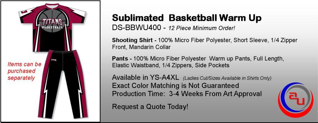 DYE SUBLIMATED BASKETBALL WARM UP UNIFORM, AFFORDABLE UNIFORMS ONLINE
