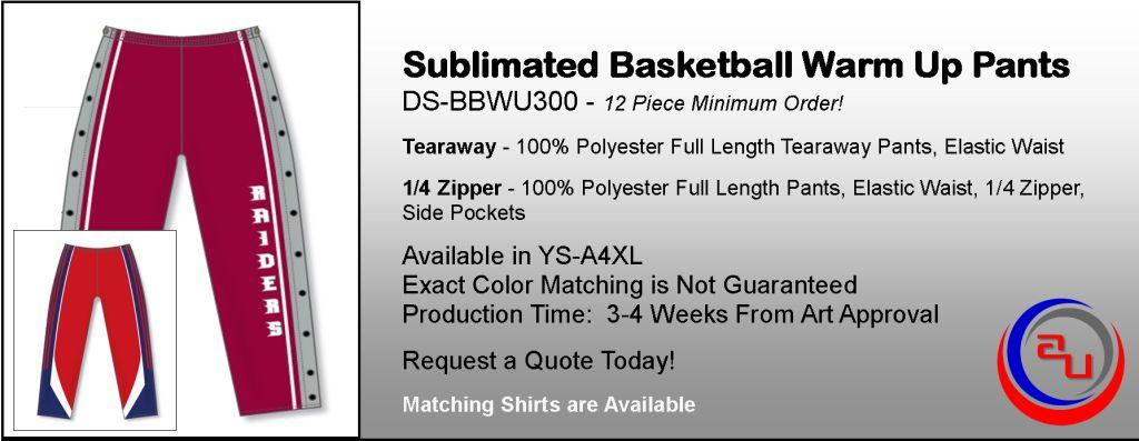 DYE SUBLIMATED BASKETEBALL WARM UP PANTS, AFFORDABLE UNINFORMS ONLINE