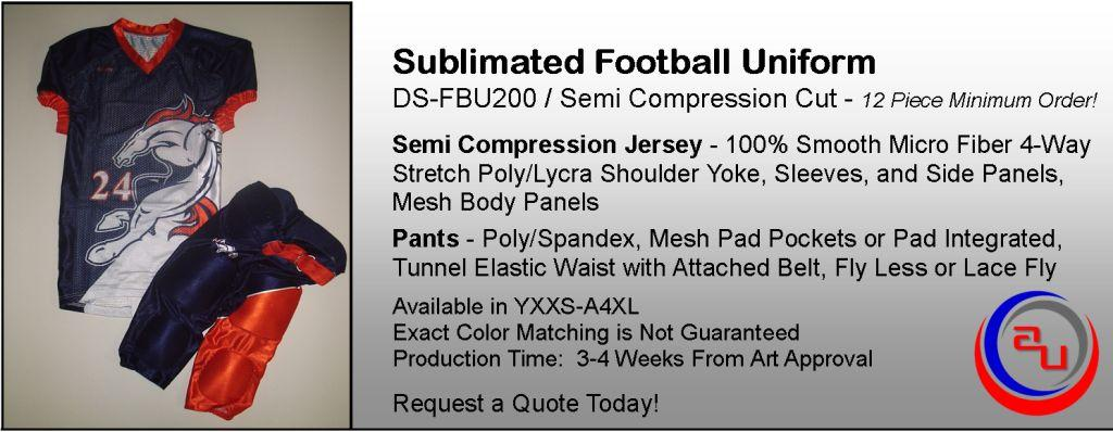 DYE SUBLIMATED SEMI COMPRESSION FOOTBALL UNIFORM BY AUO