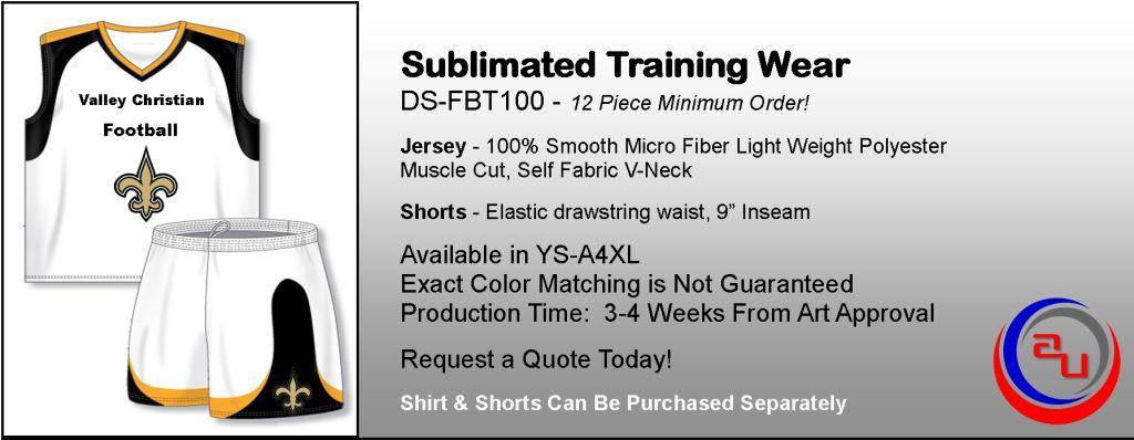 SUBLIMATED SLEEVELESS FOOTBALL TRAINING APPAREL, AFFORDABLE UNIFORMS ONLINE
