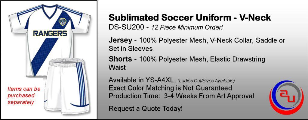 SUBLIMATED V-NECK SOCCER UNIFORM, AFFORDABALE UNIFORMS ONLINE