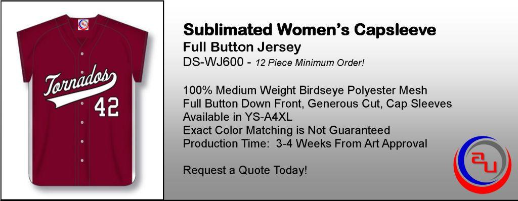 SUBLIMATED WOMENS FULL BUTTON CAPSLEEVE