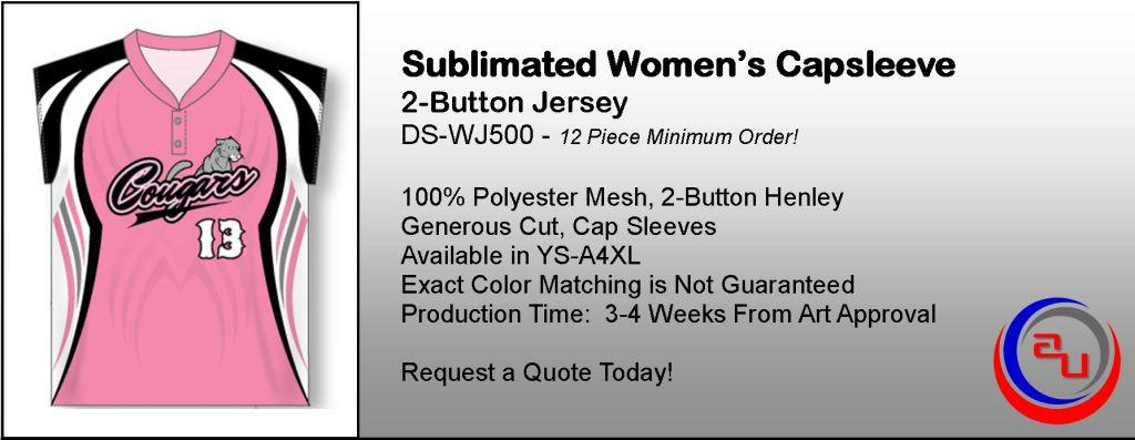 SUBIMATED WOMENS CAP SLEEVE HENLEY JERSEY, AFFORDABLE UNIFORMS ONLINE