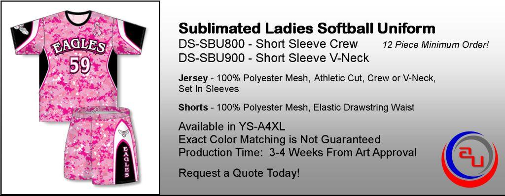 SUBLIMATED LADIES CREW NECK SOFTBALL UNIFORM WITH SHORTS, AFFORDABLE UNIFORMS ONLINE