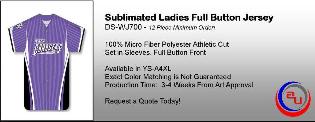 SUBLIMATED WOMENS FULL BUTTON JERSEY, AFFORDABLE UNIFORMS ONLINE