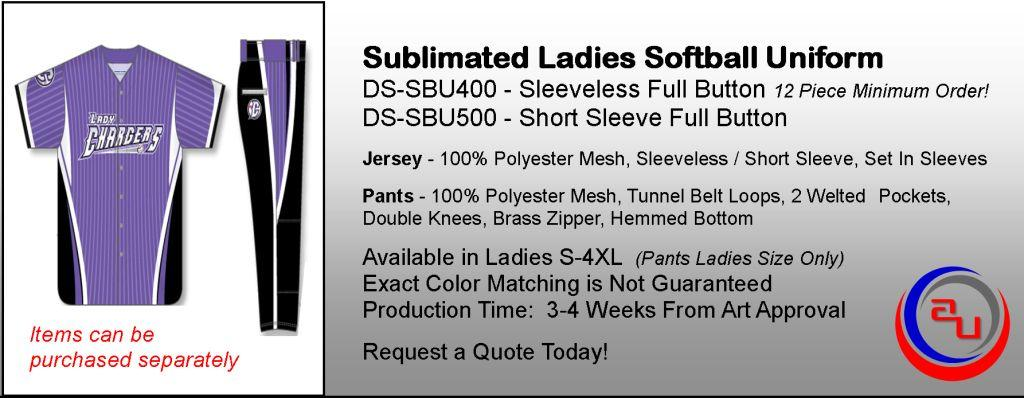 SUBLIMATED WOMENS FULL BUTTON JERSEY SOFTBALL UNIFORM