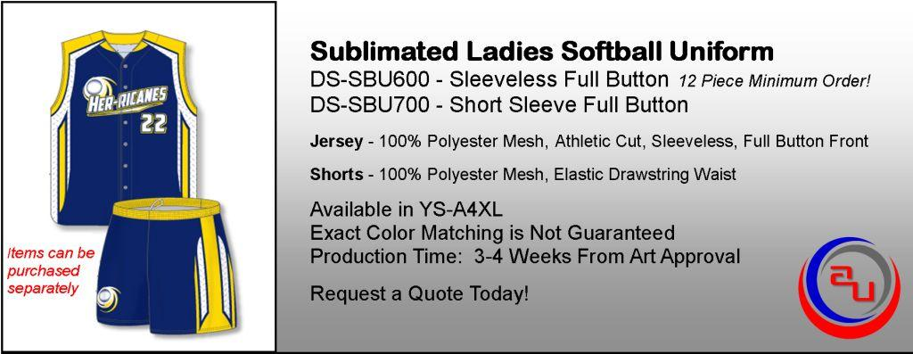SUBLIMATED WOMENS FULL BUTTON SOFBALL UNIFORMS WITH SHORTS