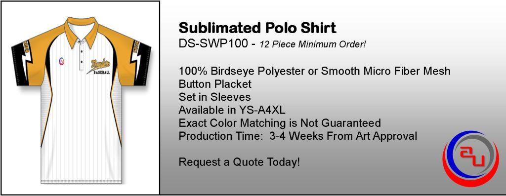 SUBLIMATED SPIRITWEAR TEAM POLO SHIRTS, AFFORDABLE UNIFORMS ONLINE