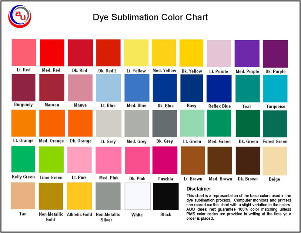AUO CUSTOM SUBLIMATED APPAREL COLOR CHART