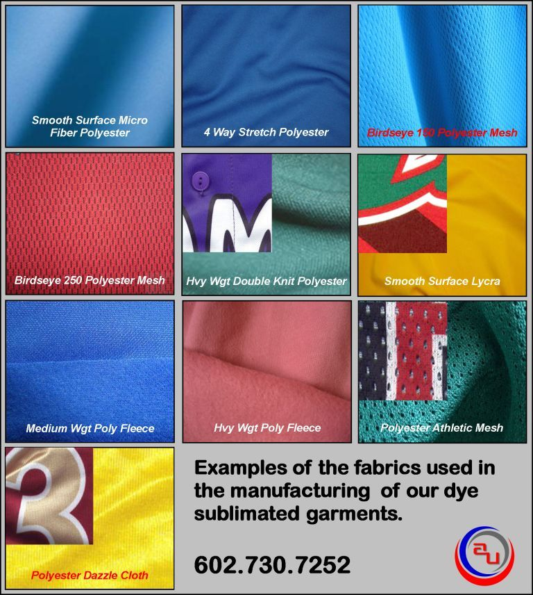 AUO SUBLIMATED APPAREL FABRIC CHART