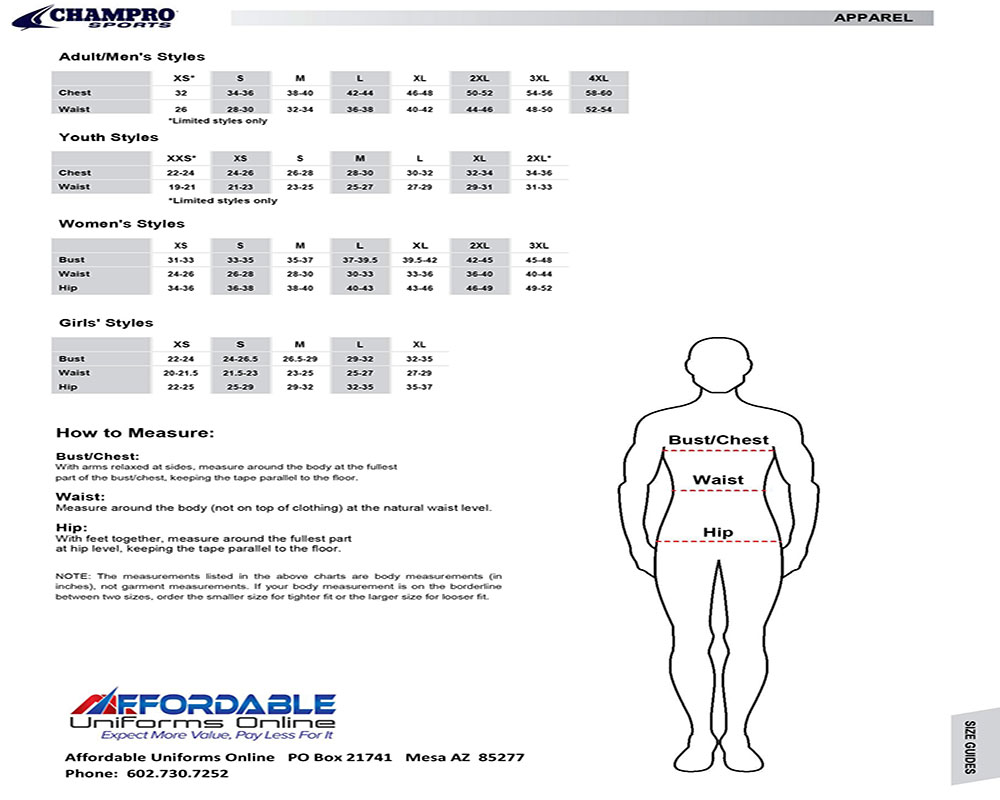 Champro Size Chart