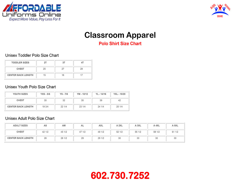 CLASSROOM APPAREL POLO SHIRT SIZE CHART 1