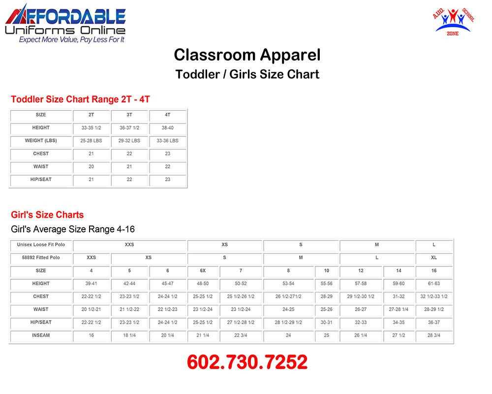 CLASSROOM APPAREL SCHOOL UNIFORM SIZE-CHART-1