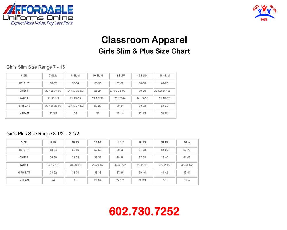 CLASSROOM APPAREL SCHOOL UNIFORM SIZE-CHART-2