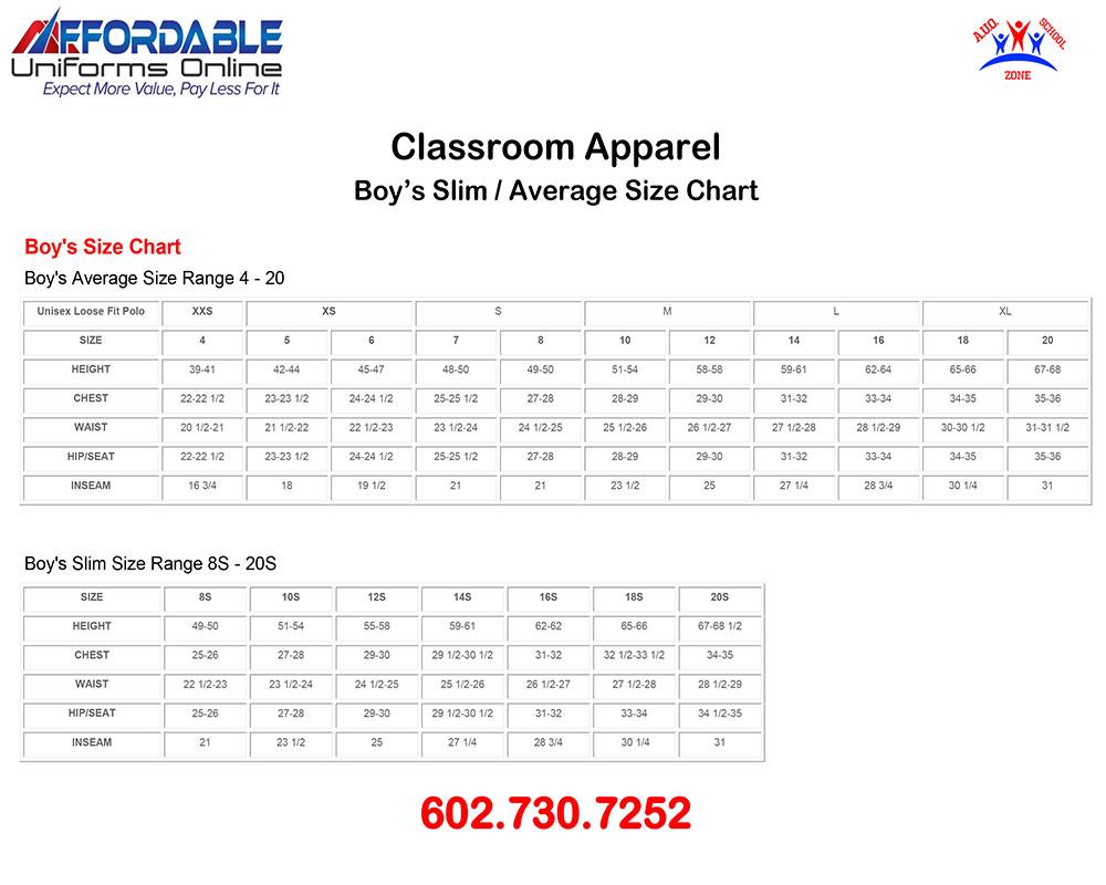 CLASSROOM APPAREL SCHOOL UNIFORM SIZE-CHART-3