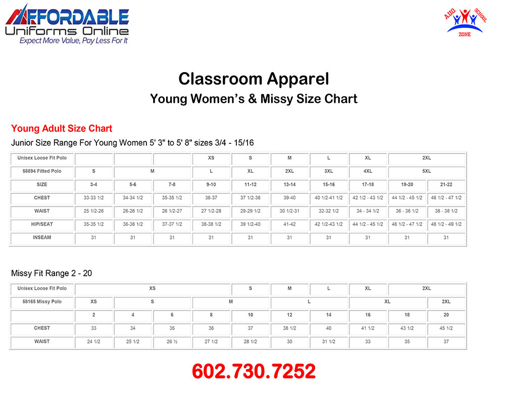 CLASSROOM APPAREL SCHOOL UNIFORM SIZE-CHART-5