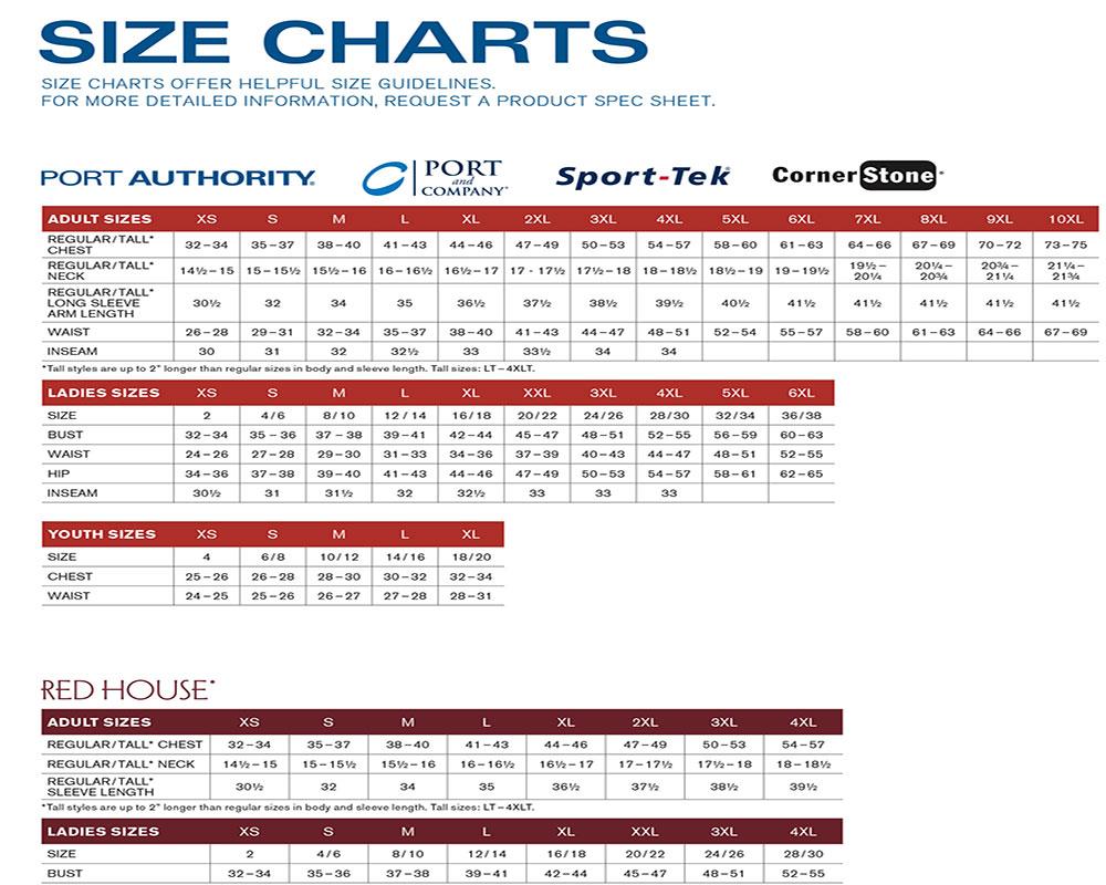 CORNERSTONE WORK APPAREL SIZE-CHART